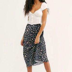 Free People Kendall Satin Midi Skirt